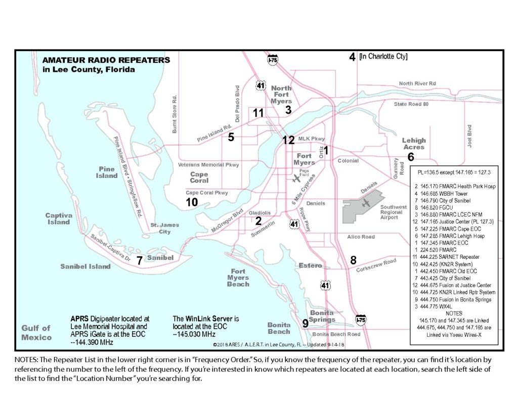 Map Of Lee County Florida.Repeater Map Fmarc